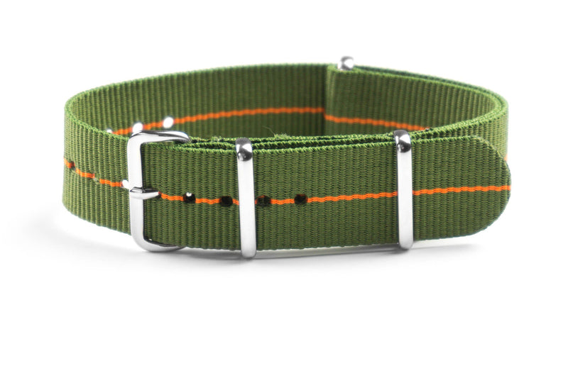NATO Strap Marine Nationale Khaki Green and Orange (20 & 22 mm)