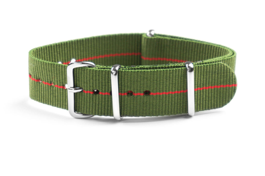 NATO Strap Marine Nationale Khaki Green and Red (20 & 22 mm)