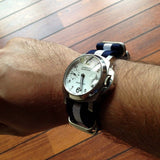 Zulu strap SS 5-ring Navy and White - Cheapest NATO Straps  - 5