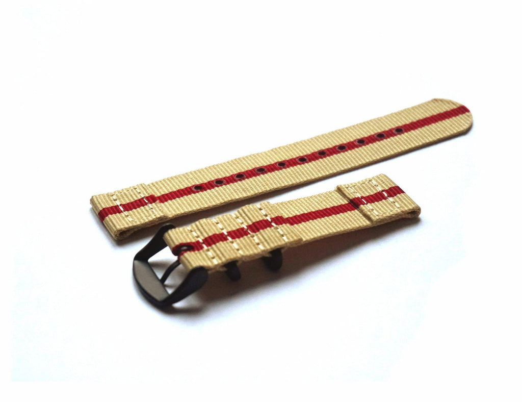 Two Piece PVD NATO Strap Beige and red - Cheapest NATO Straps  - 2