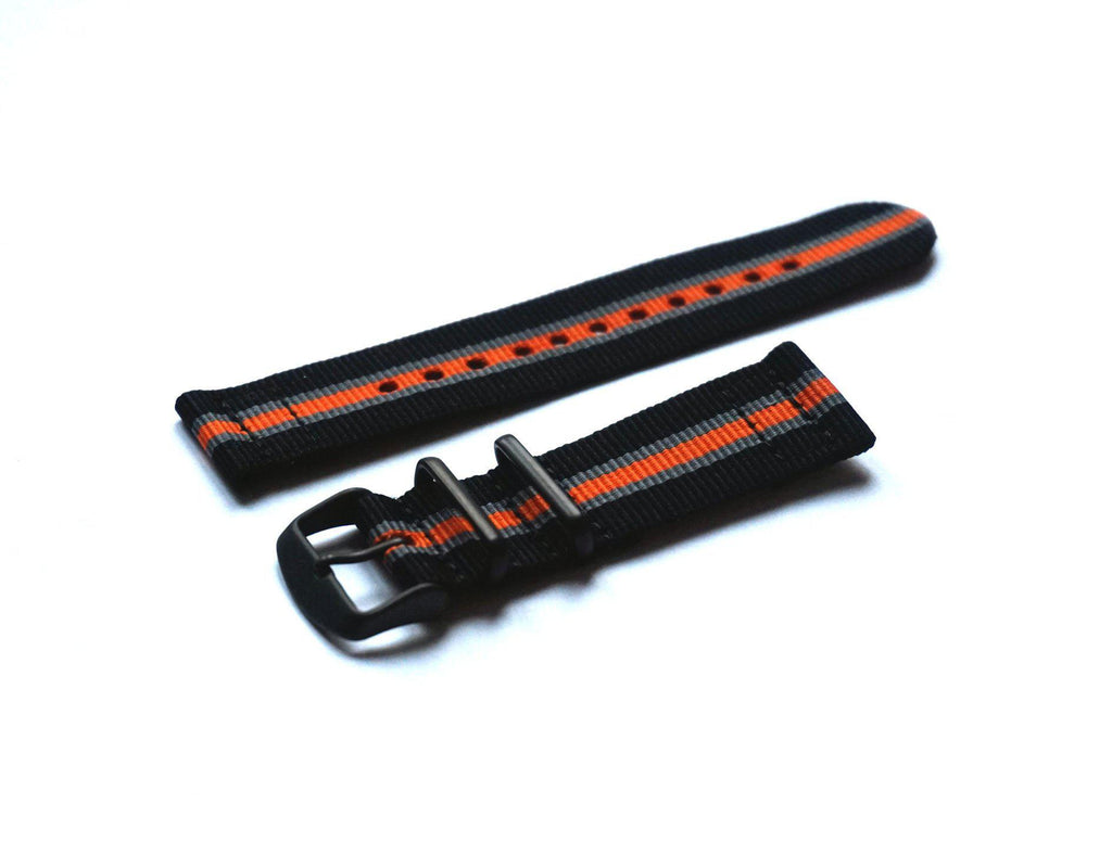 Two Piece PVD NATO Strap Black, Gray and Orange - Cheapest NATO Straps  - 1