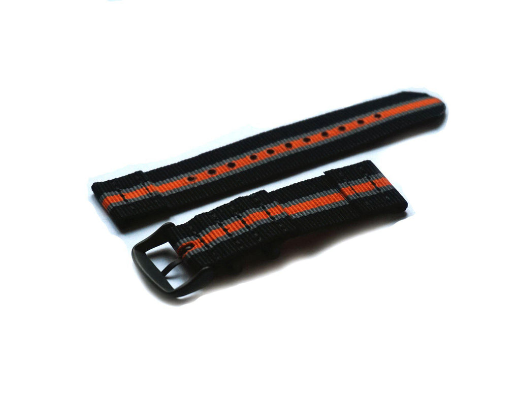 Two Piece PVD NATO Strap Black, Gray and Orange - Cheapest NATO Straps  - 2