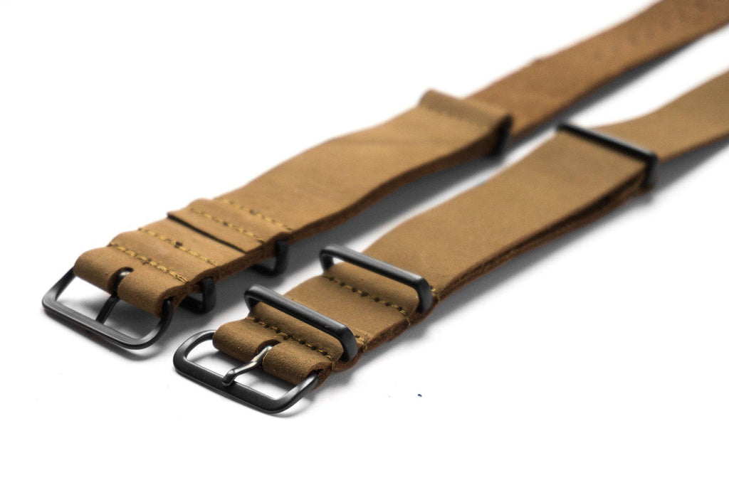 PVD Leather NATO Strap Khaki Nubuck - Cheapest NATO Straps  - 2