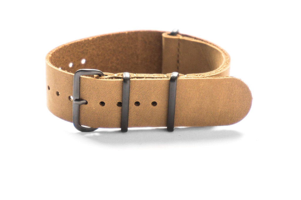 PVD Leather NATO Strap Khaki Nubuck - Cheapest NATO Straps  - 1