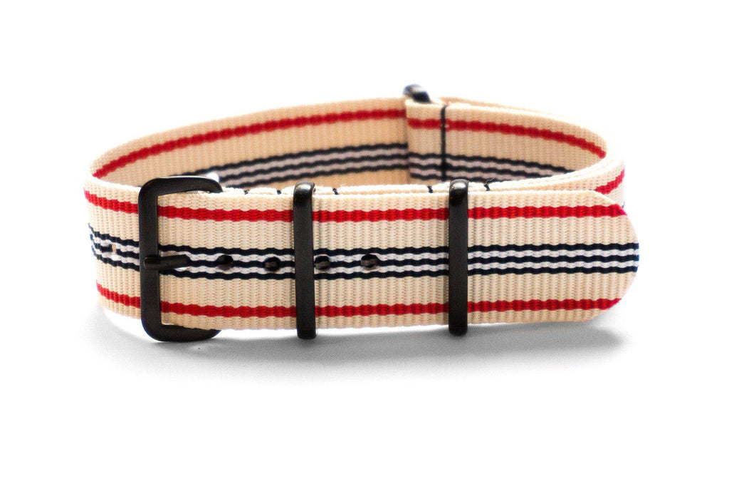 PVD premium NATO Strap Off White, Red, Black and White