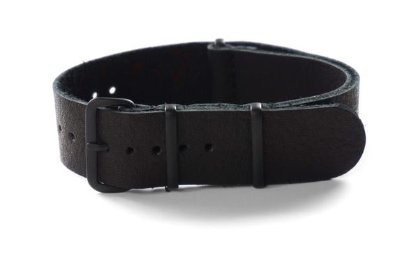 PVD Leather NATO Strap Black