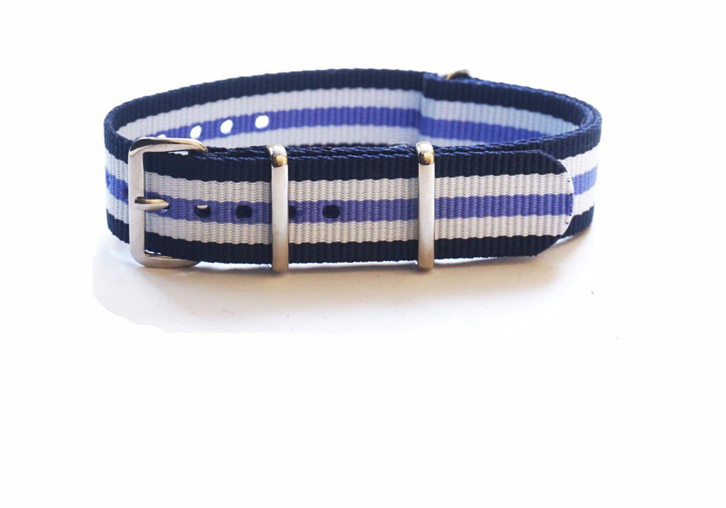 NATO Regimental Strap Navy, White and Purple - Cheapest NATO Straps  - 1