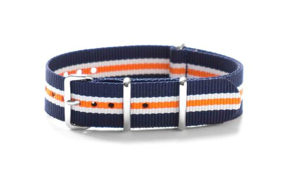 Premium NATO Strap Navy, White and Orange