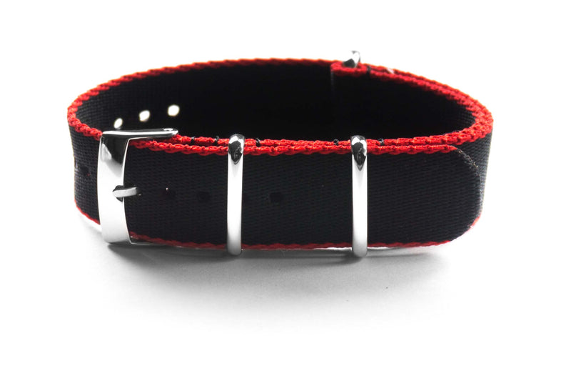 Seat Belt NATO Strap Black and Red (18 mm)