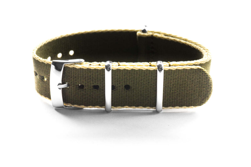 Seat Belt NATO Strap Khaki green and Beige (18 mm)