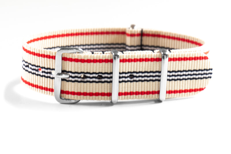 Premium NATO strap Off white, Red, Black and White