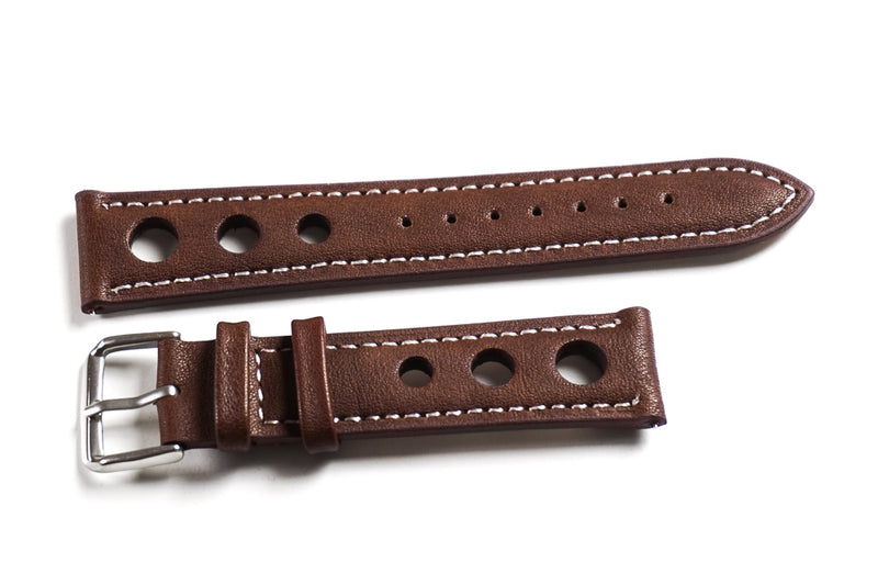 Rally Dark Brown with white stitching