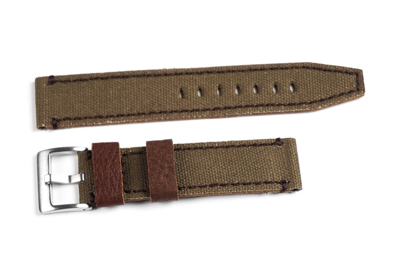 Ranch Leather and Canvas Khaki Green