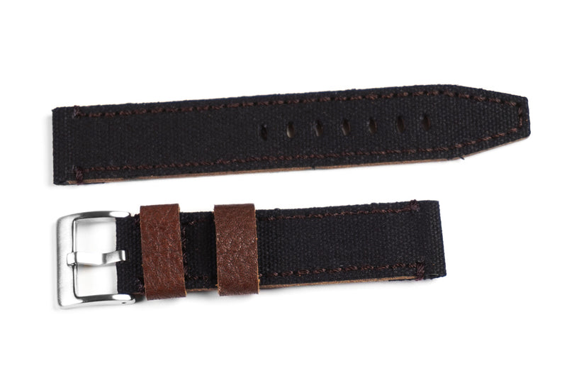 Ranch Leather and Canvas Black