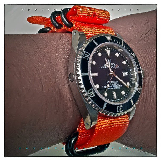 Extra Long PVD Zulu Strap 5-ring Orange - Cheapest NATO Straps  - 5