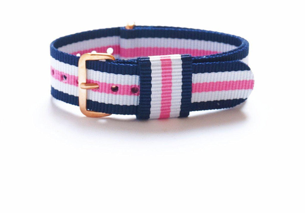 Rose Gold Premium Original NATO Strap Blue, White and Pink - Cheapest NATO Straps  - 1