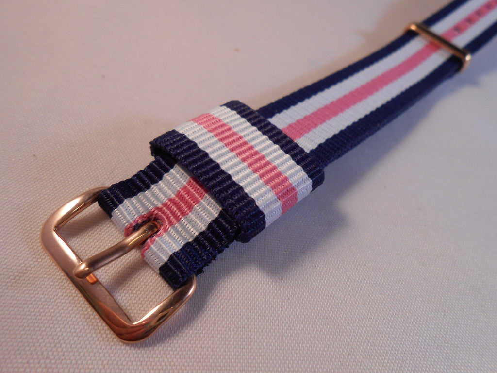 Rose Gold Premium Original NATO Strap Blue, White and Pink - Cheapest NATO Straps  - 2