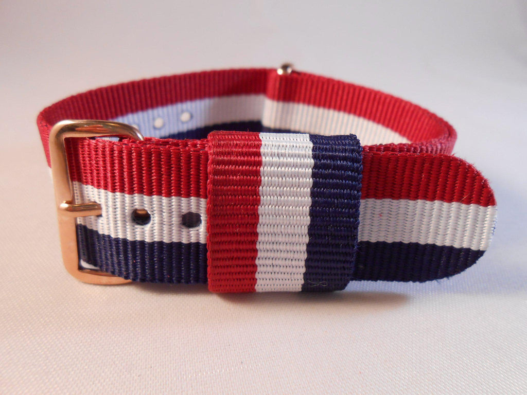 Rose Gold Premium Original NATO Strap Red, White and Navy - Cheapest NATO Straps  - 1