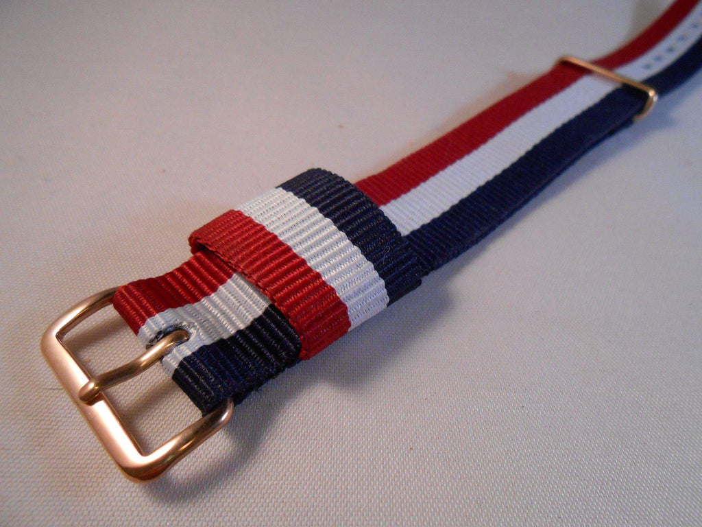 Rose Gold Premium Original NATO Strap Red, White and Navy - Cheapest NATO Straps  - 2