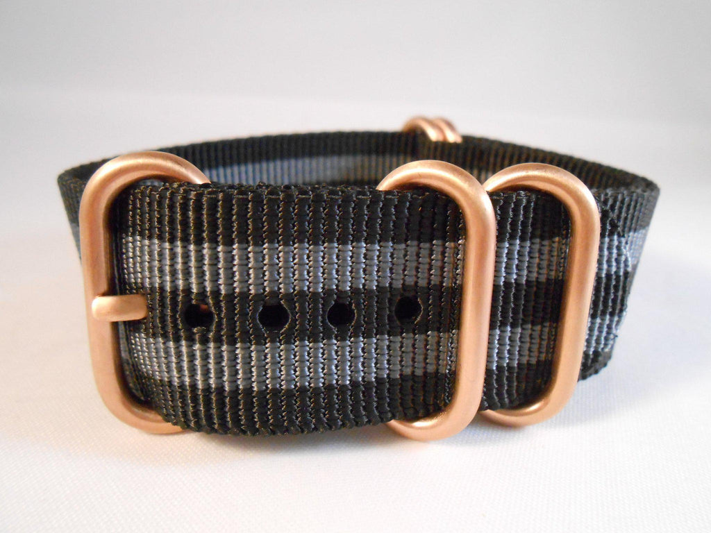 "Rose Gold Zulu strap 5-ring Black and Gray ""James Bond"" - Cheapest NATO Straps  - 3"