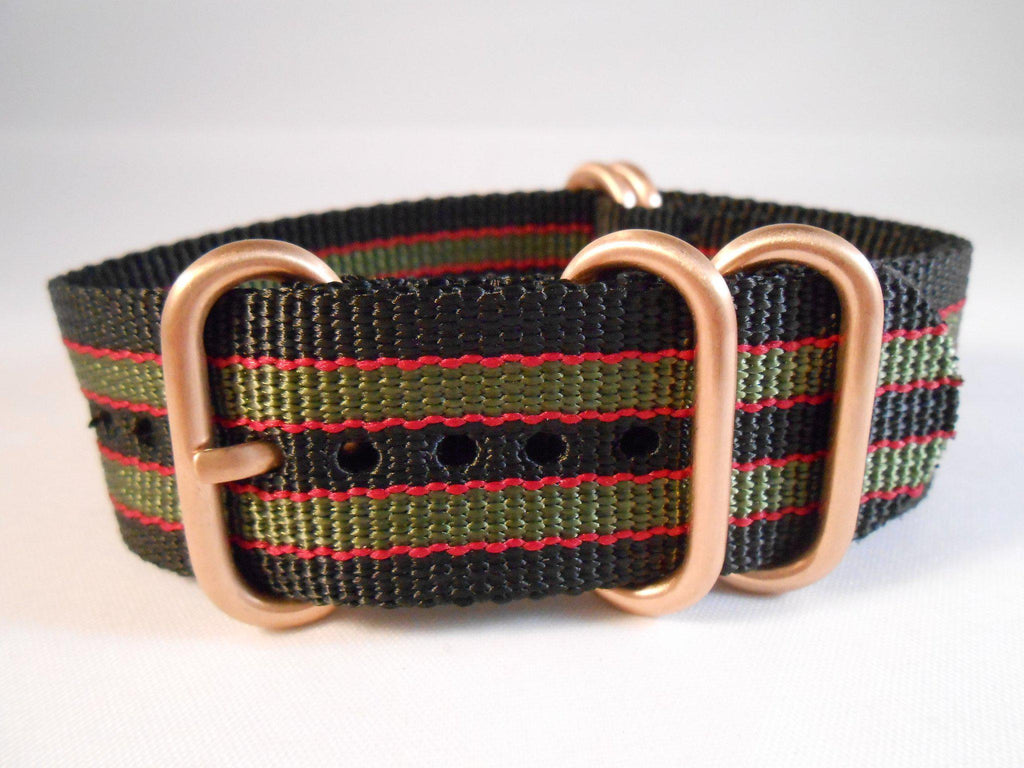 "Rose Gold Zulu strap 5-ring Black, Red and Green ""James Bond"" - Cheapest NATO Straps  - 2"
