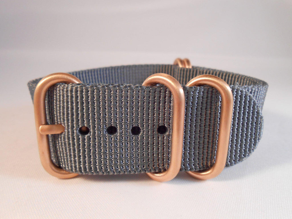 Rose Gold Zulu strap 5-ring Gray - Cheapest NATO Straps  - 3