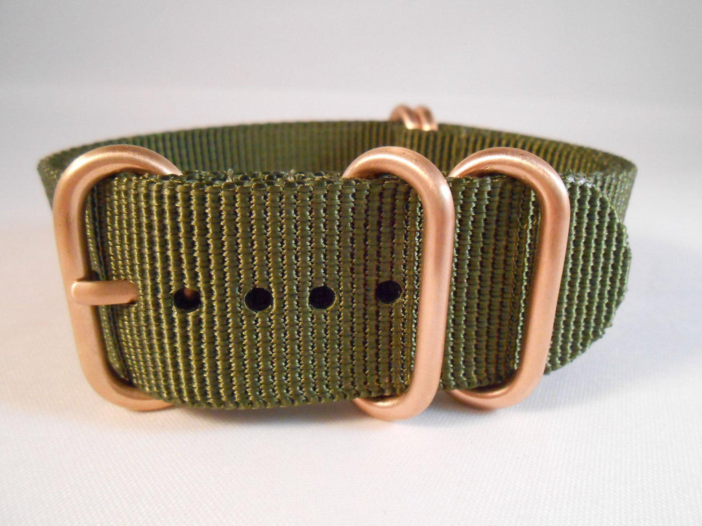 Rose Gold Zulu strap 5-ring Khaki Green - Cheapest NATO Straps  - 3