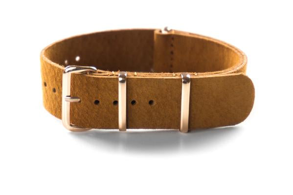 Rose Gold Suede NATO Strap Brown
