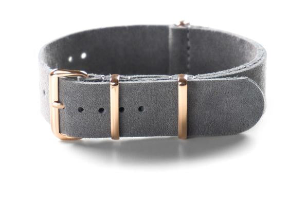 Rose Gold Suede NATO Strap Gray