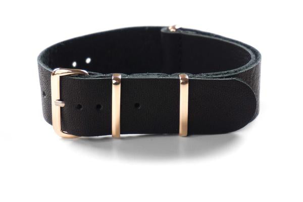 Rose Gold Leather NATO Strap Black (18 & 20 mm)