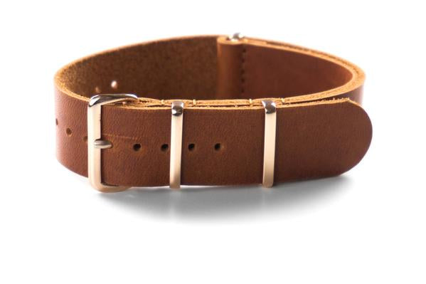 Rose Gold Leather NATO Strap Oak (18 & 20 mm)