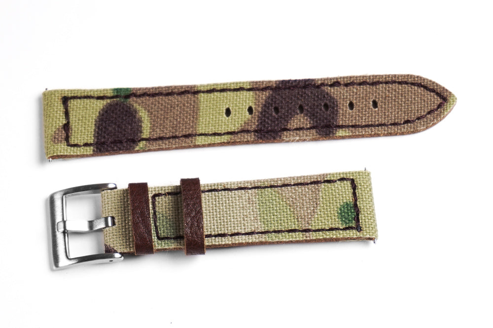 Rough Cut Leather and Canvas Camouflage (21 & 24 mm)