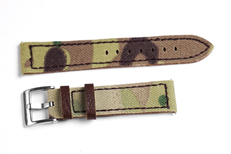 Rough Cut Leather and Canvas Camouflage (19, 21 & 24 mm)