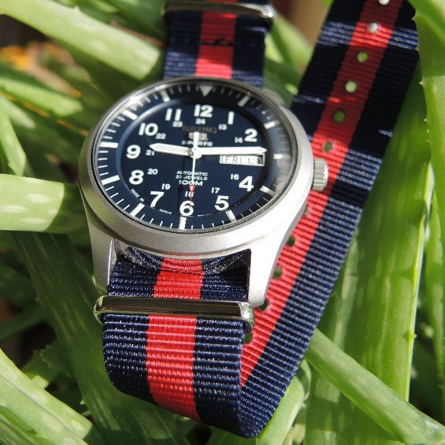 Extra Long Premium NATO strap Navy and Red - Cheapest NATO Straps  - 3