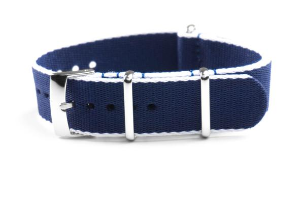 Seat Belt NATO Strap Navy and White