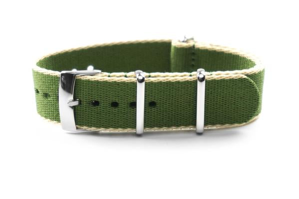 Seat Belt NATO Strap Olive and Beige (20 & 22 mm)