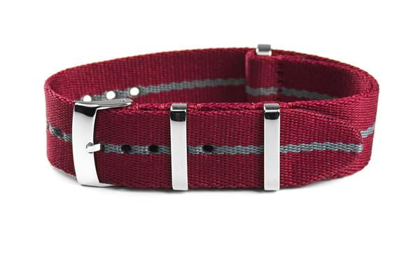 Deluxe Seat Belt NATO Burgundy and Gray (18 & 20 mm)