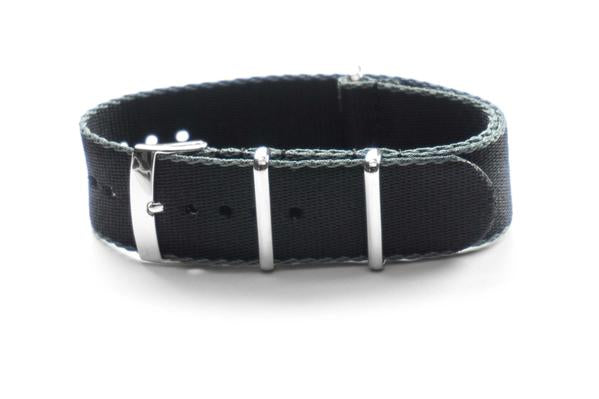 Seat Belt NATO Strap Black and gray (18 mm)