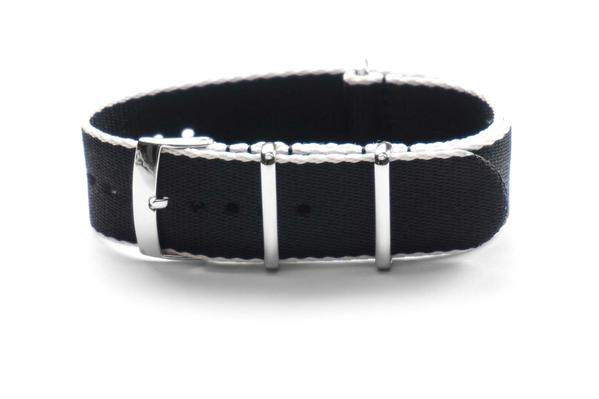 Seat Belt NATO Strap Black and White