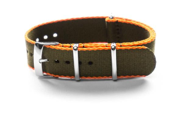 Seat Belt NATO Strap Khaki green and Orange  (18, 21 & 22 mm)