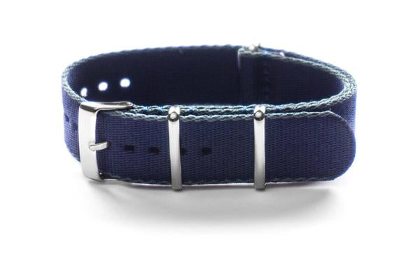 Seat Belt NATO Strap Navy and  Gray (18 & 20 mm)