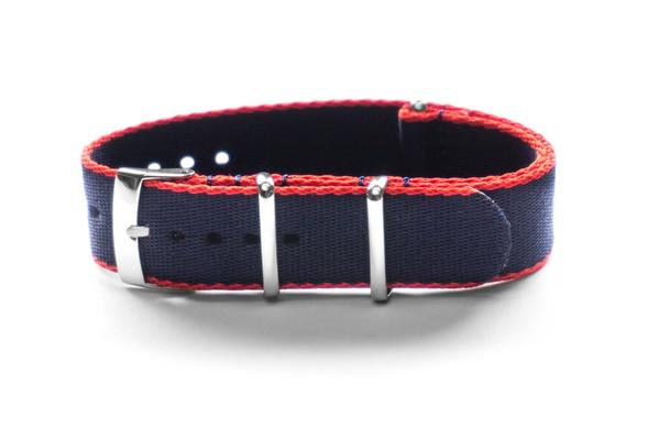 Seat Belt NATO Strap Navy and Red (18 & 21 mm)