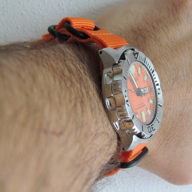 Extra Long PVD Zulu Strap 5-ring Orange - Cheapest NATO Straps  - 7
