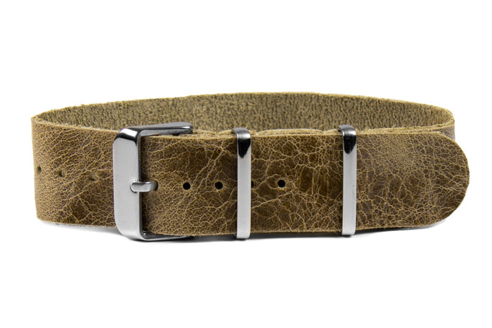 Single Pass Leather Strap Desert Khaki