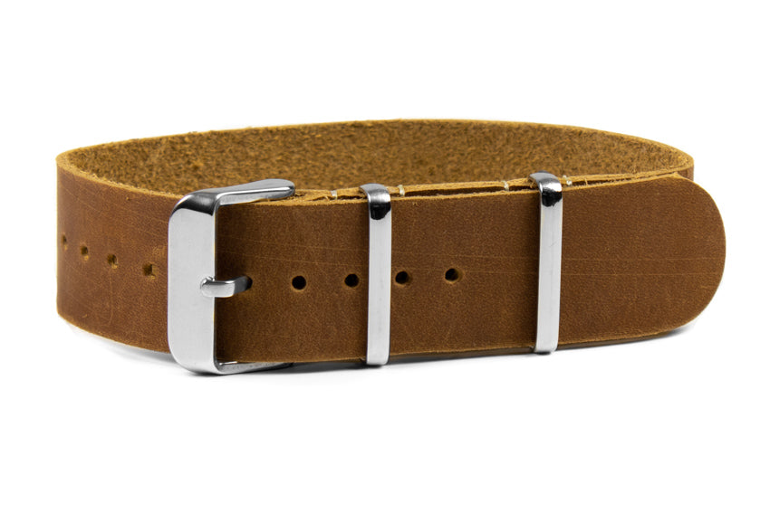Single Pass Leather Strap Nougat with White stitching