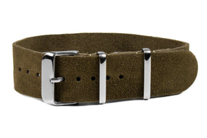 Single Pass Suede Strap Khaki Green