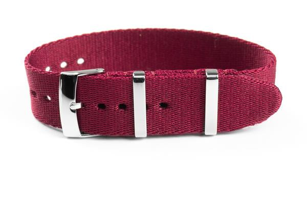 Single Pass Seat Belt Strap Burgundy (18, 20 & 22 mm)