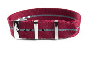 Single Pass Seat Belt Strap Burgundy and Gray (18, 20 & 22 mm)