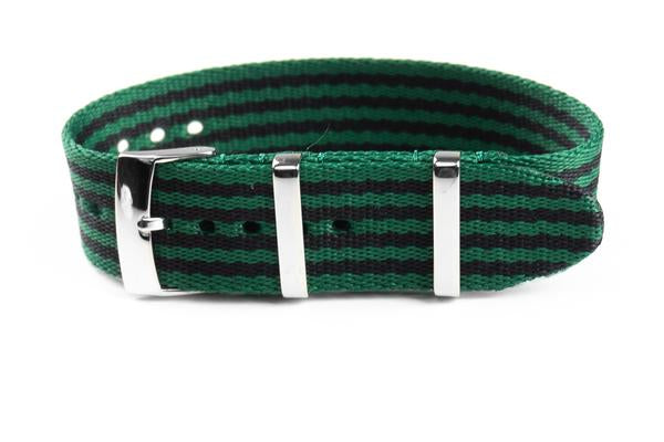 Single Pass Seat Belt Strap Green and Black (20 mm)