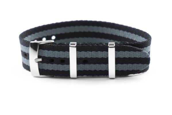 Single Pass Seat Belt Strap Black and Gray James Bond (18, 20, 21 & 22 mm)